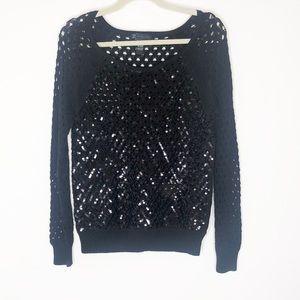 Inc international concepts black sequin sweater L
